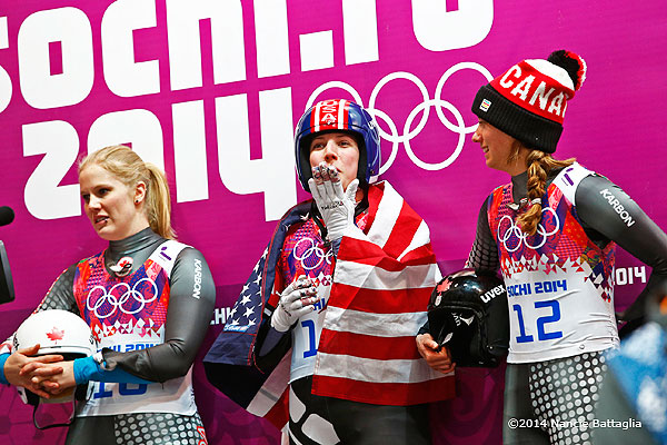 Erin Hamlin blows a kiss to her fans in the stands. Photo: Nancie Battaglia