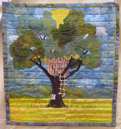 Robin Field: The Treehouse, painted and hand-dyed cotton, machine appliqued and embroidered