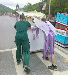 Chris Barry (Pete Pan) and Kevin  Barry (Tinkerbell) get ready to sprint. Photo: Sarah Harris