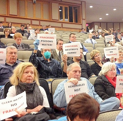 Anti-fracking protesters at the hearing. Photo: Karen DeWitt.