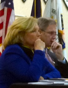 Rep. Chellie Pingree of ME and Rep. Bill Owens of NY at the US Farm Bill hearing in Saranac Lake in 2012. NCPR file photo: Julie Grant