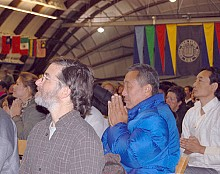 Thousands of people, including many Tibetans, listened raptly to the Dalai Lama's address. Photo: Sarah Harris
