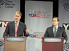 Bill Owens (left) and Matt Doheny at the YNN NY21 Candidate Debate. Photo: Amanda Morrison, Watertown Daily Times provided courtesy YNN