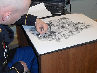 Sergeant 1st Class David Geig creates a drawing of Private 1st Class Joseph Dwyer for display in the Vets Peer-to-Peer Outreach Center. Photo: Joanna Richards