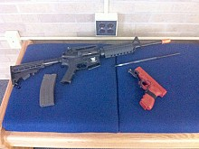 Training weapons used by campus police. Photo: Sarah Harris