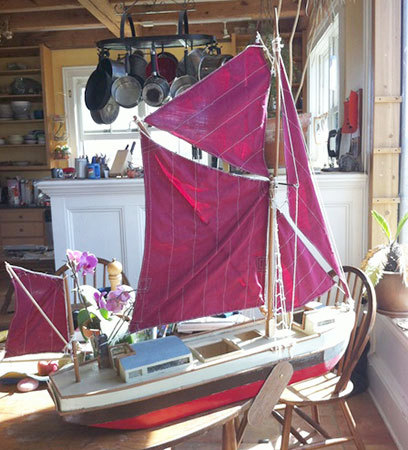 A model of the boat sitting on Eric's kitchen table. Photo: Sarah Harris
