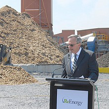Chief Executive Officer of ReEnergy Holdings Larry Richardson speaks during the grand opening of the company's Black River biomass plant on Fort Drum. Photo: Joanna Richards