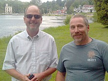 Village trustee Paul Van Cott (L) with Shawn Boyer, creator of the Lake Flower Beach Return Facebook page. Photo: Brian Mann