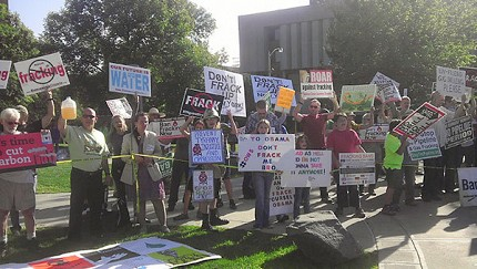 Anti-fracking protesters in Binghamton today. Photo: Kate O'Connell/WXXI