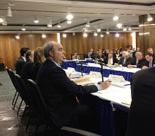 The Gaming Commission's Ed Berns listens to questions from prospective casino operators. Photo: Karen DeWitt