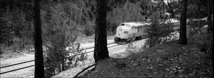 The Adirondack Scenic Railroad train passes through Ray Brook.  Photo: Mark Kurtz