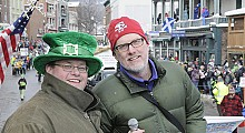 Andy Flynn (L) and Brian Mann co-emceed the Winter Carnival parade in Saranac Lake earlier this winter.  Photo: Mark Kurtz