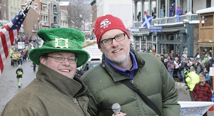 Andy Flynn (L) and Brian Mann from NCPR emceed Saturday's big parade.  Photo: Mark Kurtz