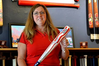 Connie Haney, Cooperstown Bats, with the bat she made for the president. Photo: Ryan Delaney/WRVO