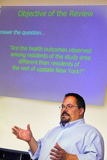 James Bowers, a research scientist who works on environmental health issues for the state Department of Health, explains plans for a study of the area's disease patterns. Photo: Justin Sorenson, Watertown Daily Times