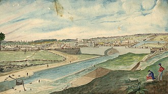 "Lower Bytown, from the Barrack Hill, near the head of the Eighth Lock and Sappers' Bridge, 1845. Painting by Thomas Burrowes, public domain via <a href=""http://en.wikipedia.org/wiki/File:Lower_Bytown,_from_the_Barrack_Hill,_near_the_head_of_the_Eighth_Lock_and_Sappers%E2%80%99_Bridge,_1845.jpg"">Wikimedia Commons</a>"