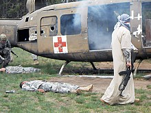A mass-casualty combat exercise involving a mock helicopter crash tested medics' skills. Photo: Joanna Richards