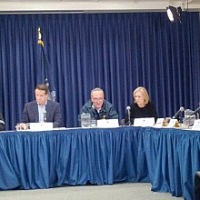 "Gov. Cuomo and Sens. Gillibrand and Schumer at Wednesday's briefing. Photo: Governor's office via <a href=""http://www.flickr.com/photos/governorandrewcuomo/"">Flickr</a>"