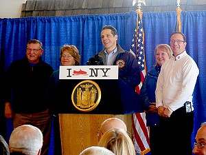 Governor Andrew Cuomo, with, from left, State Assemblyman Ken Blankenbush, State Senator Betty Little, State Assemblywoman Addie Russell, and State Sentor Joe Griffo, at the Ridgeview Inn snowmobiler lounge, in Lowville, Lewis County. Photo: Joanna Richards