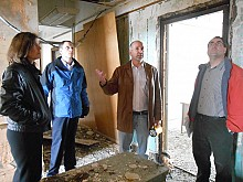 Developer Erich Seber gives local officials a tour of the Woolworth building in downtown Watertown, in April. Photo: Joanna Richards