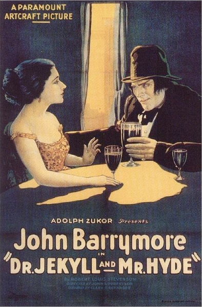 "Original film poster from the John Barrymore classic. <a href=""http://en.wikipedia.org/wiki/File:Dr_Jekyll_and_Mr_Hyde_1920_poster.jpg"">Paramount Pictures</a>, public domain"