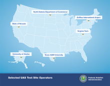 A map of drone test sites. Image: Federal Aviation Administration