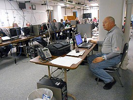 Bob Simpson, Jefferson County deputy fire coordinator, manages the county's Emergency Operations Center during the storm. Photo: Joanna Richards