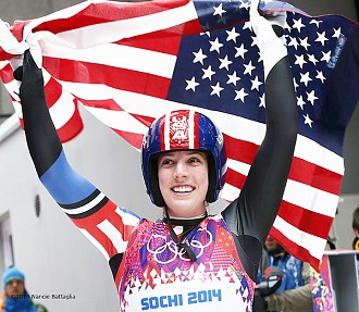 One of Battaglia's iconic images from 2014 will be Erin Hamlin's moment of victory in Sochi.  Photo:  Nancie Battaglia