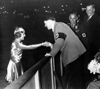 Sonja Henie and Adolph Hitler met repeatedly in the 1930s, fueling rumors about their relationship. Photo source: Unknown