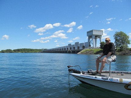Elite Series veteran Dave Smith searches for trends near Iroquois Dam. Photo: David Sommerstein
