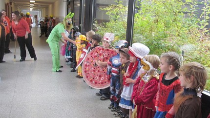 Kindergarteners line up for the parade. Photo: Sarah Harris.