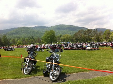 Bikes on display in downtown Lake George. Photo: Zach Hirsch