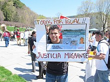 Migrant worker Alberto Madrigal at the VT statehouse protest. Photo: Sarah Harris