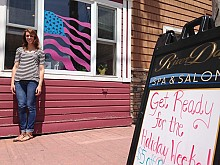 Ebbing is getting ready for Memorial Day at River Day Spa & Salon in Clayton. Photo: David Sommerstein