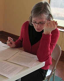 Canton parent Kim Sisk writes a letter to lobby for increased school funding.  Photo: Julie Grant