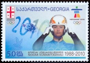 "<a href=""http://en.wikipedia.org/wiki/File:NodarKumaritashviliGEOpostalStamp.jpg"">Postal Stamp of Georgia</a> - Slider Nodar Kumaritashvili from the Republic of Georgia died at the 2010 Vancouver Olympic Games."