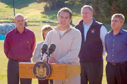 Governor Andrew Cuomo made a surprise visit to the Adirondacks in September 2013 to talk about the Finch Pruyn deal.