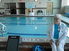 Lynne Puzo, nurse manager for the Spinal Cord Injury and Disorders Center, says the new therapy pool relieves pain for patients and helps them gain greater range of motion as they recover. Photo: Joanna Richards