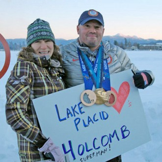 Bridget Degroot meets bobsledding legend Steven Holcomb during Olympic celebration in Lake Placid.  Photo: Andy Flynn