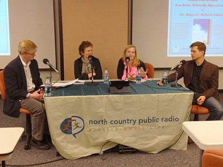 Readers & Writers road show at Fort Drum. Left to right: Chris Robinson, Ellen Rocco, author Siobhan Fallon, and Phil LaMarche. Photo: Joel Hurd