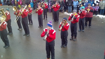 The Saranac Lake High School Marching Band. Photo: Brian Mann