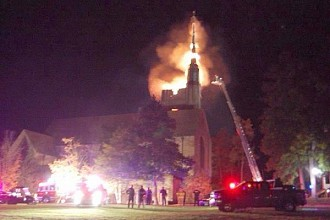 The blaze as captured by a SLU student. Photo: Madeleine Young, courtesy St. Lawrence University