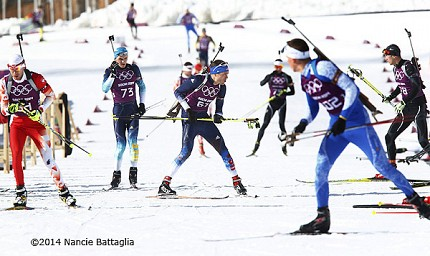This shot of Tim Burke from Paul Smiths practicing in the biathlon scrum captures the sense of a guy trying to break out of the pack.  He finished 19th on Saturday and hopes to do batter as the Olympics power on.