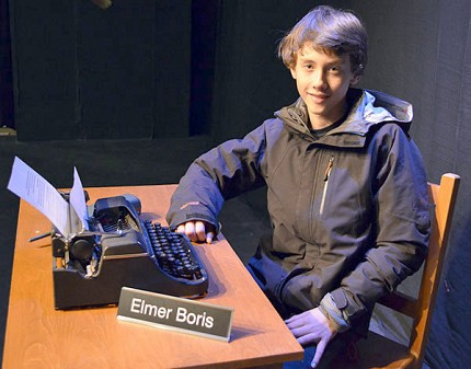 "Saranac Lake teen playwright Witter Swanson on the set for his play ""Elmer"" at Pendragon.  Photo:  Karen Lordi-Kirkham"
