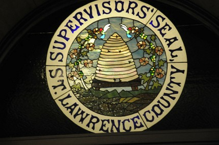 The St. Lawrence County supervisors' seal in stained glass. Photo: Mark Kurtz
