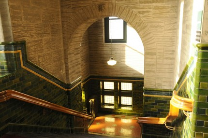 The afternoon light filtering into the grand staircase of the St Lawrence County Courthouse. Photo: Mark Kurtz