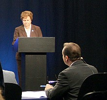 Assemblywoman Janet Duprey has also raised the ACR issue on the campaign trail, most recently during a debate on Mountain Lake PBS. Photo: MLPBS
