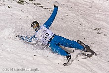 USA's Nevin Brown crashes to earth.  Face plants are a part of the sport. Photo: Nancie Battaglia, NCPR Winter Olympics correspondent