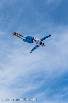 High in the sky is USA's Ashley Caldwell. Photo: Nancie Battaglia, NCPR Winter Olympics correspondent