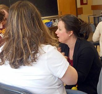 Music therapist Tracy Wannamaker works with students in Potsdam, Massena and Gouverneur on a weekly basis. Photo: Todd Moe